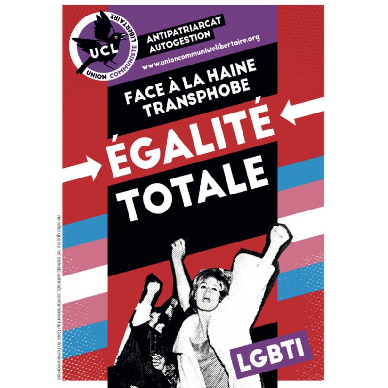(x100) Autocollants ''Face à la haine transphobe, égalité totale''