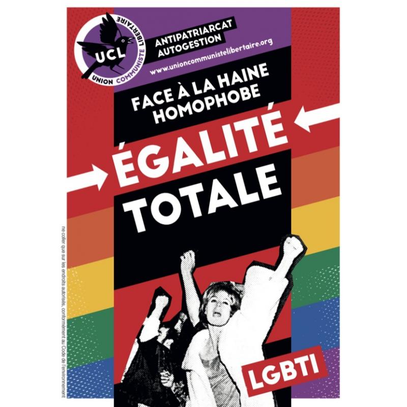 (x100) Autocollants ''Face à la haine homophobe, égalité totale''