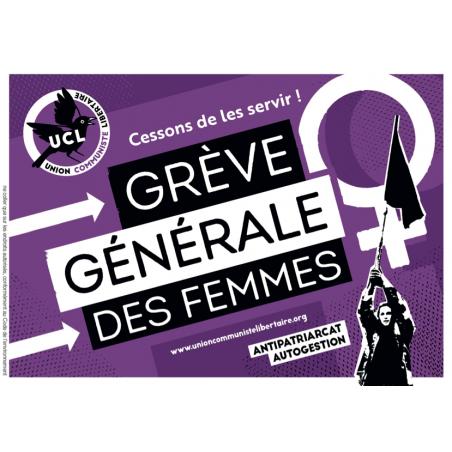 (x100) Autocollants ''Cessons de les servir, grève générale des femmes''
