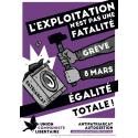 (x100) Autocollants ''Exploitation pas une fatalité, 8 mars, égalité totale''