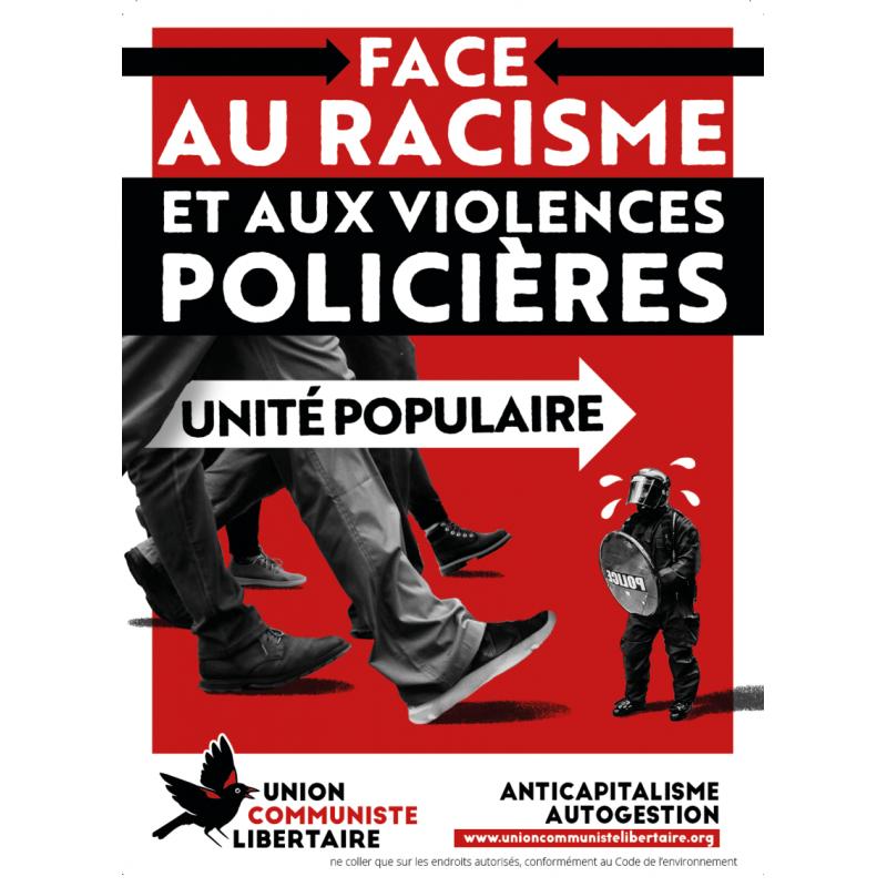 (x100) Autocollants ''Face au racisme et aux violences policières: unité populaire''