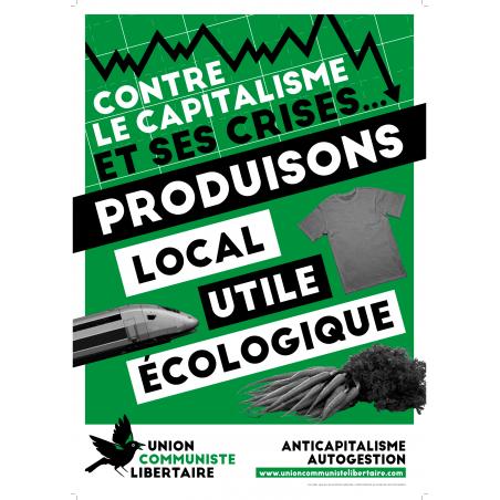 (x100) Autocollants ''Contre le capitalisme et ses crises, produisons local, utile, écologique''