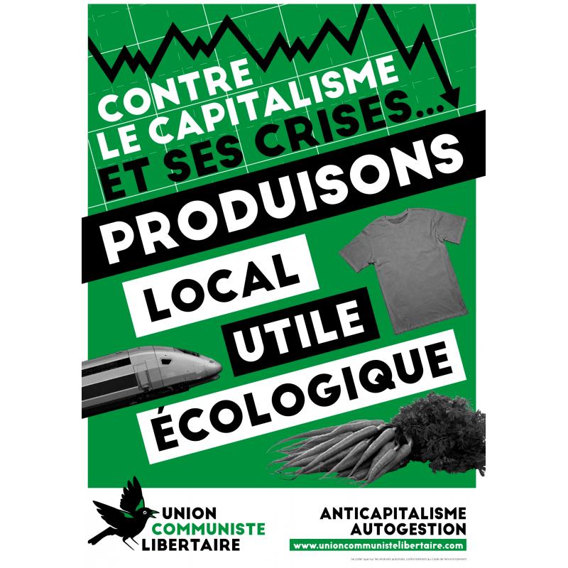 (x50) Affiches ''Contre le capitalisme et ses crises, produisons local, utile, écologique''